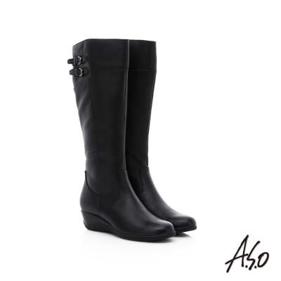 A.S.O 優雅時尚 真皮寬口飾釦拼接楔型長靴 黑色