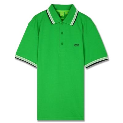 HUGO BOSS 綠標滾邊線素面POLO男衫(綠)
