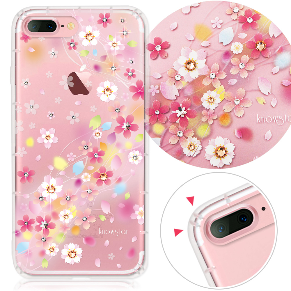 KnowStar APPLE iPhone7 Plus 奧地利水晶彩繪防摔手機鑽殼-千本櫻