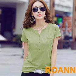 文藝風素面V領短袖T恤 (共二色)-ROANN