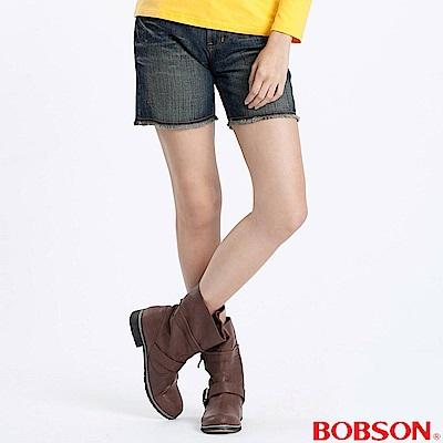 BOBSON-女款反折不收邊短褲