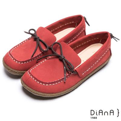 DIANA 經典舒適--車線綁帶蝴蝶結真皮寬頭休閒鞋-紅
