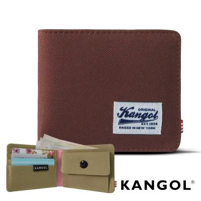 KANGOL 韓式潮流 多夾層/零錢袋橫式短皮夾+鑰匙圈禮盒-帆布撞色棕