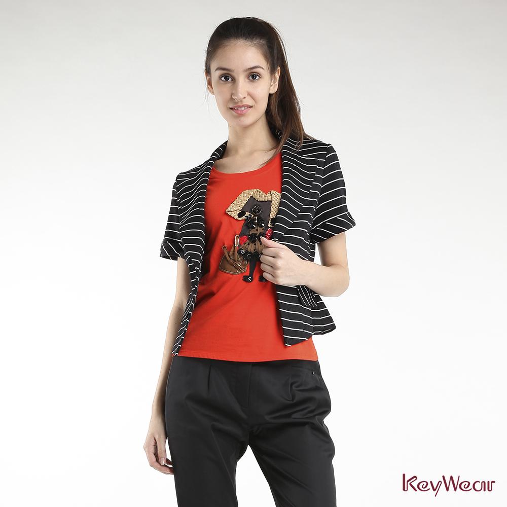KeyWear奇威名品網路獨家法式優雅色織條紋短袖外套-黑色