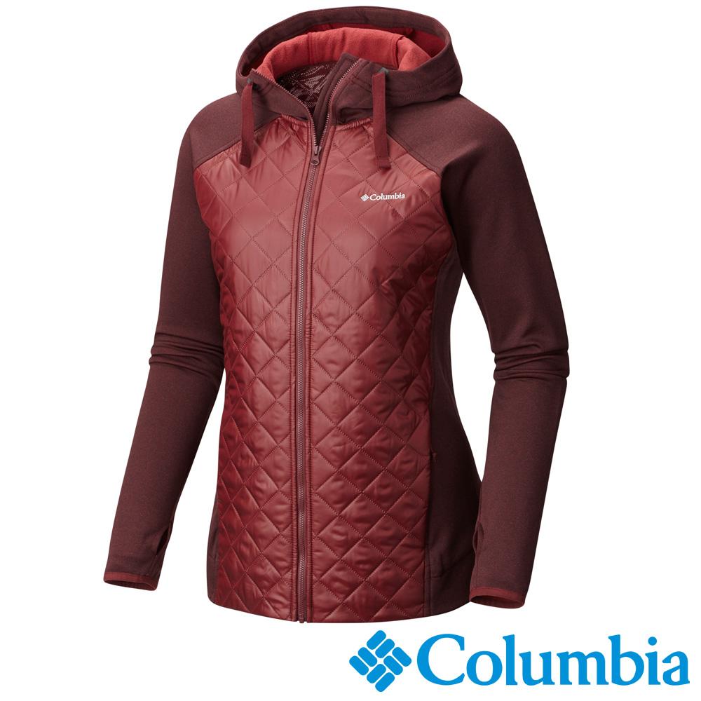Columbia哥倫比亞  女款-保暖快排刷毛連帽外套-紅色 UAR02870RD