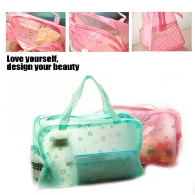旅遊必備!田園碎花透明防水收納袋2入/化妝包 盥洗袋 沐浴用品收納袋