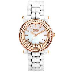 NATURALLY JOJO 搖曳生姿晶鑽陶瓷時尚腕錶-白x玫瑰金/33mm