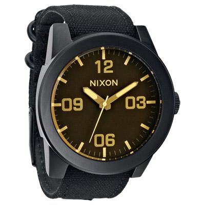 NIXON The CORPORAL 粗曠潮流時尚運動腕錶-黑x淺黃時標/48mm
