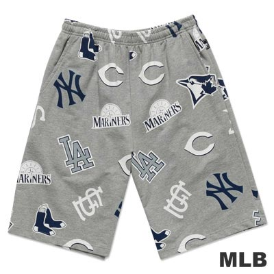 MLB-美國職棒滿版球隊LOGO印花運動短褲-麻灰(男)