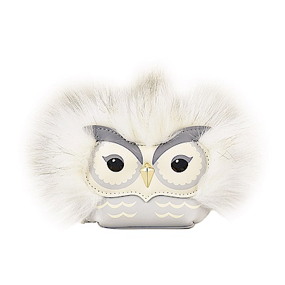 Kate Spade 經典金屬小黑桃LOGO牛皮貓頭鷹設計拉鍊吊飾零錢包(灰)
