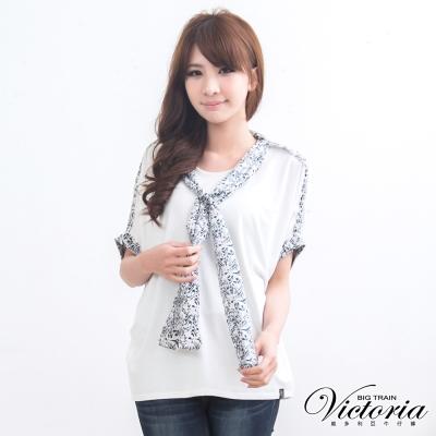 Victoria 印花領巾配布TEE-女-白色