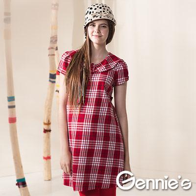 【Gennie's奇妮】學院氣質甜美紅格紋拼接秋冬孕婦洋裝-紅(G1402)