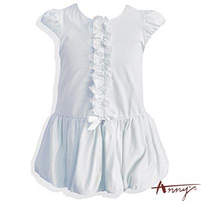 休閒舒適條紋公主袖荷葉花包洋裝*5314水藍