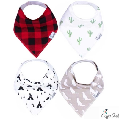 Copper Pearl 美國 紅格紋仙人掌雙面領巾圍兜口水巾4件組
