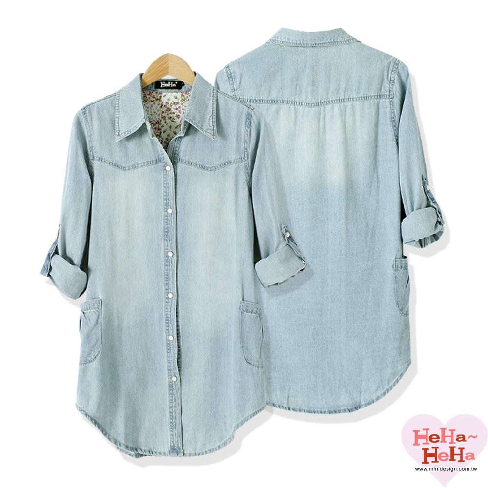 【HeHa】歐美復古休閒長版牛仔襯衫