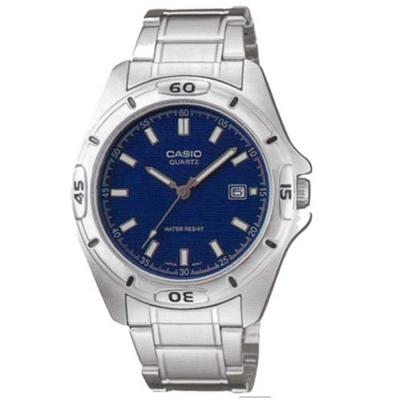 CASIO 經典時尚簡約風格指針腕錶(MTP-1244D-2A)-藍面/42mm