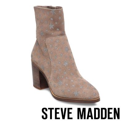 STEVE MADDEN-REWARD 麂皮星星粗跟短靴-駝色