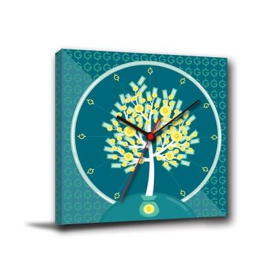 美學365-單聯方形普普風民宿青年旅社靜音時鐘無框畫掛畫-金幣樹-40x40cm
