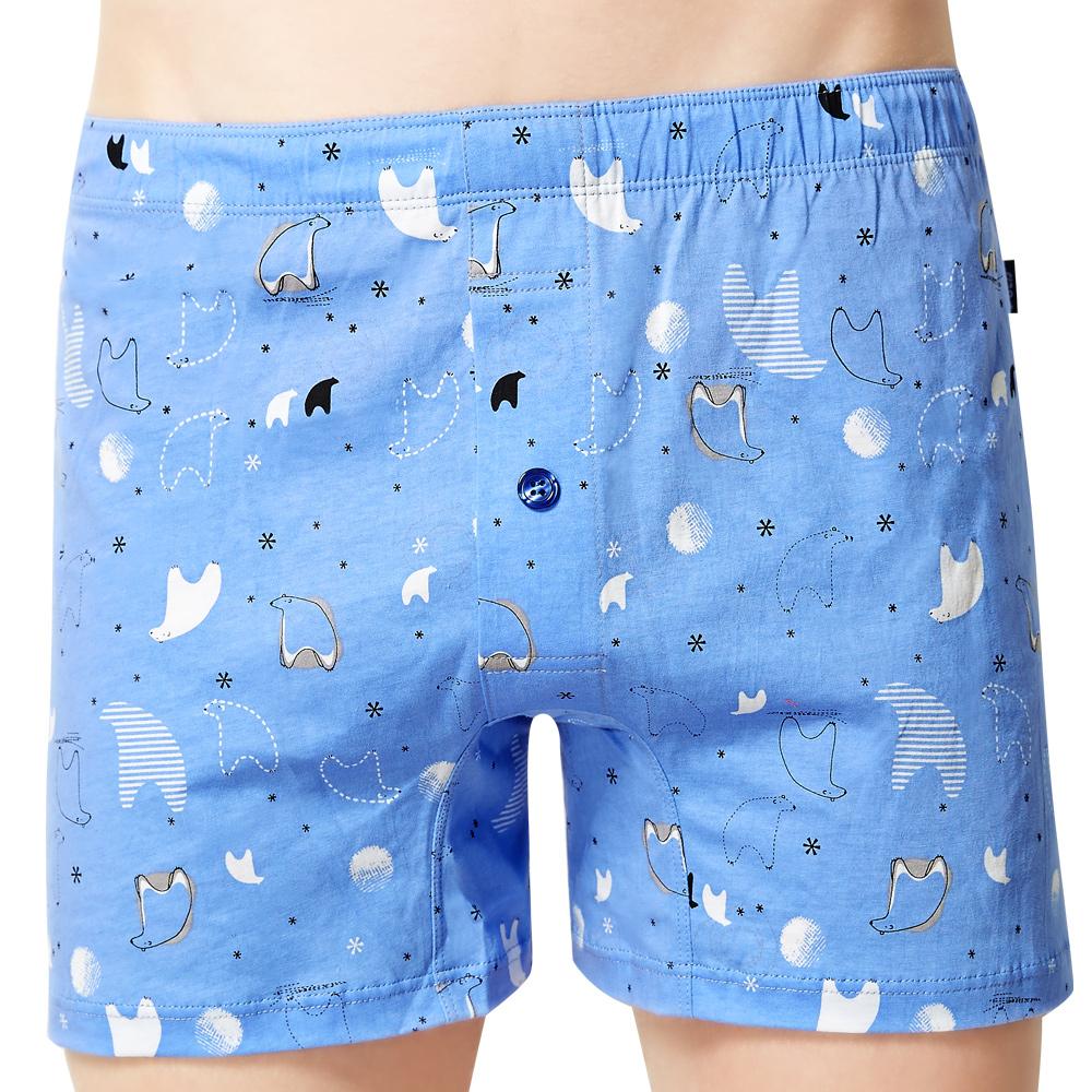SOLIS 熊麻吉系列S-XXL印花寬鬆四角男褲(小藍莓)
