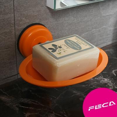 FECA 非卡 無痕超強力吸盤 橢圓皂盤(橘)