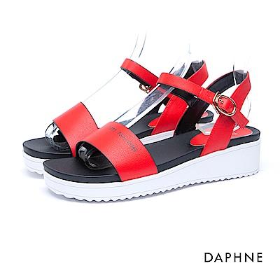 達芙妮DAPHNE 涼鞋-一字寬帶繞踝印花厚底涼鞋-紅