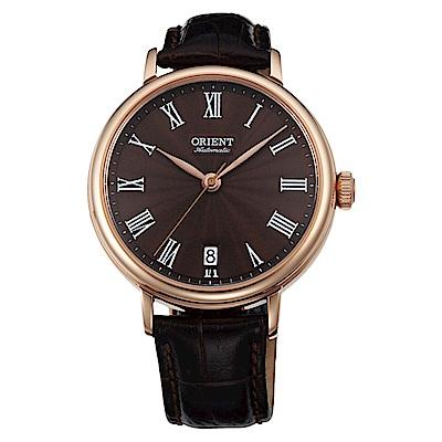 ORIENT典雅羅馬玫瑰金自動上鍊機械女士腕錶FER2K001T0-棕36mm
