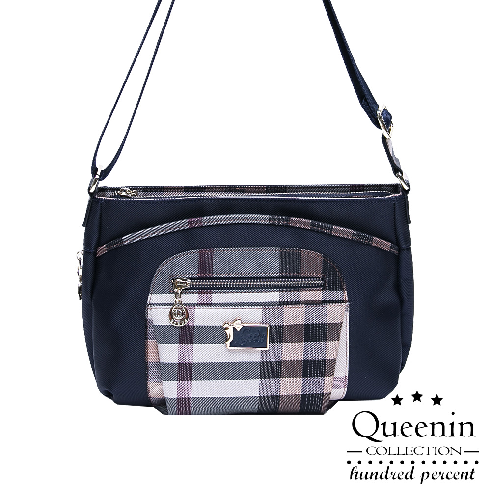 DF Queenin - 上流之路質感格紋風斜側背包