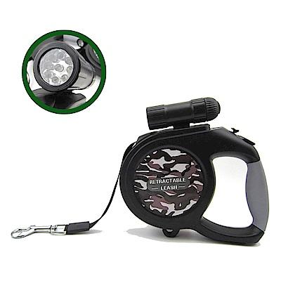 摩達客 可拆式9燈LED超亮手電筒寵物自動伸縮牽繩(灰迷彩/8米長/50KG以下適用)