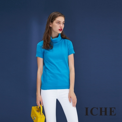 ICHE衣哲 暖時尚羊毛高領百搭針織造型上衣(兩色)-藍