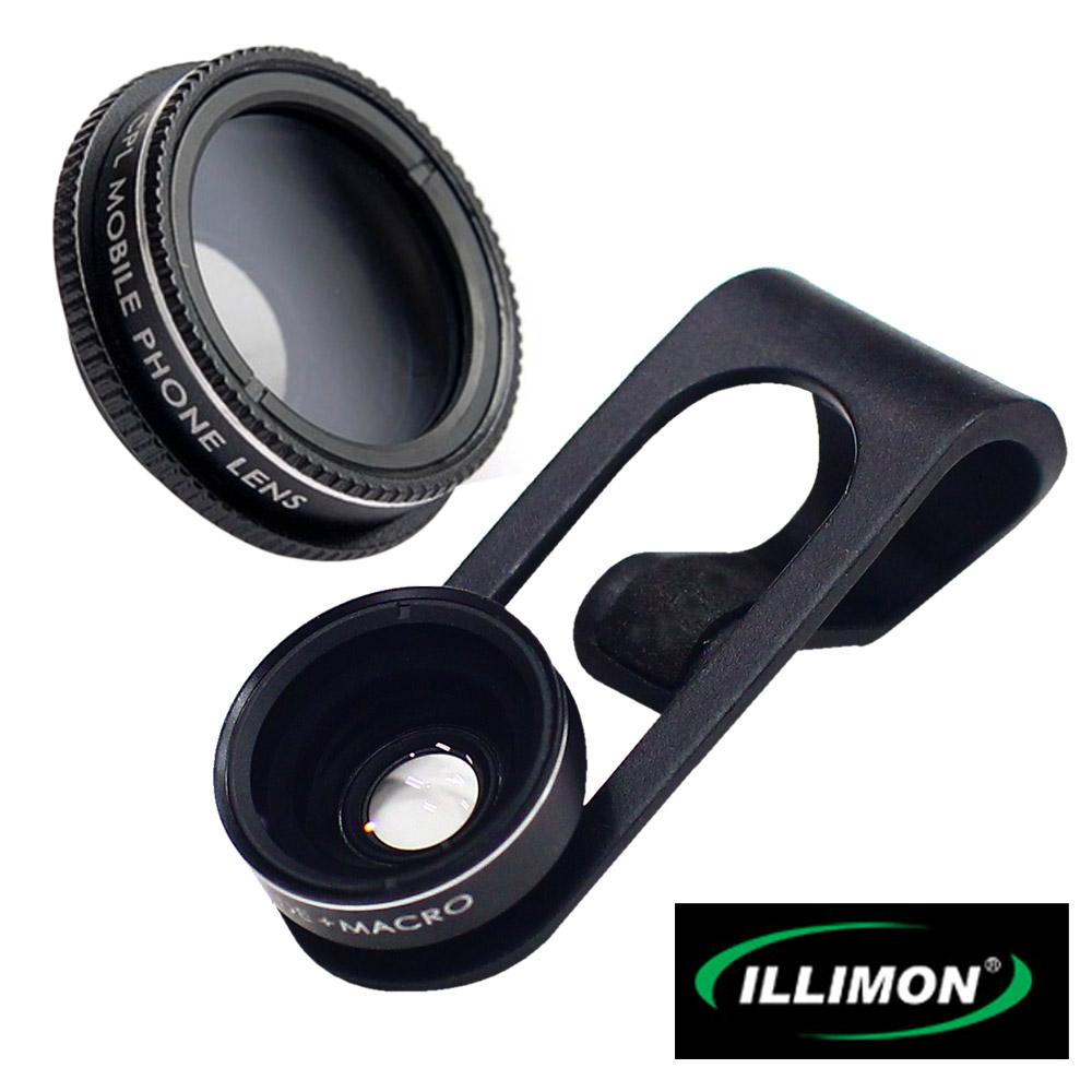 ILLIMON 廣角+微距+偏光鏡三種特效手機附加鏡頭萬用夾ST-200