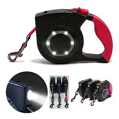 摩達客 超亮LED環光系列寵物自動伸縮牽繩(桃紅黑條紋/4.8米/20KG以下適用)