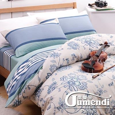 喬曼帝Jumendi 藝想詩歌 台灣製活性柔絲絨雙人四件式兩用被床包組