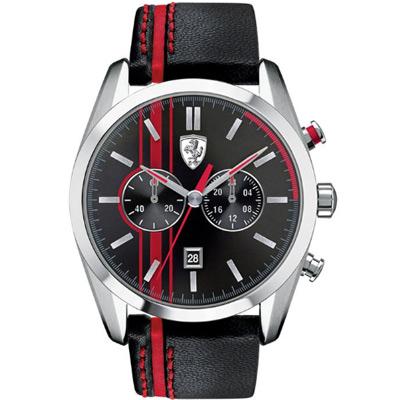 Scuderia Ferrari 法拉利 熱血沸騰計時運動錶-黑紅/44mm