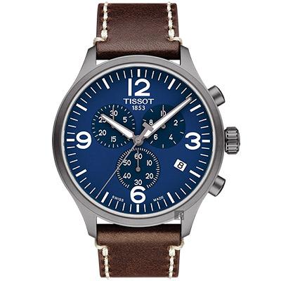 TISSOT天梭 韻馳系列 Chrono XL計時手錶-藍x咖啡/45mm