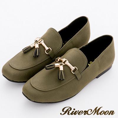 River&Moon文藝金墜小流蘇樂福深口平底鞋-綠系