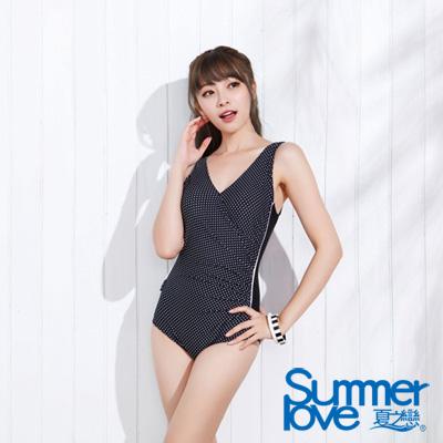 夏之戀SUMMER LOVE 比基尼泳衣 水玉點點連身泳裝 黑色