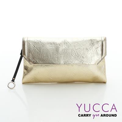 YUCCA - 金屬色牛皮壓紋手拿/肩背包-金色- D110C17