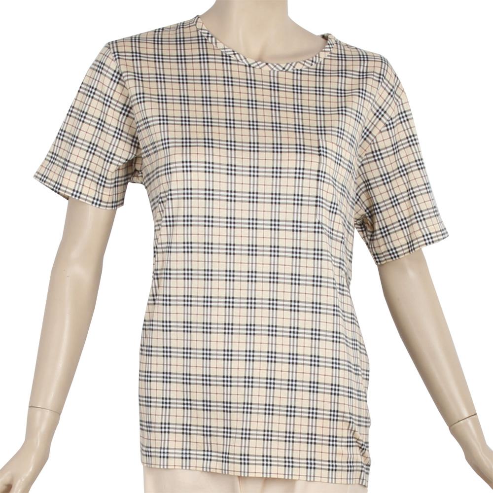 BURBERRY經典格紋純棉短袖家居服-淺駝色