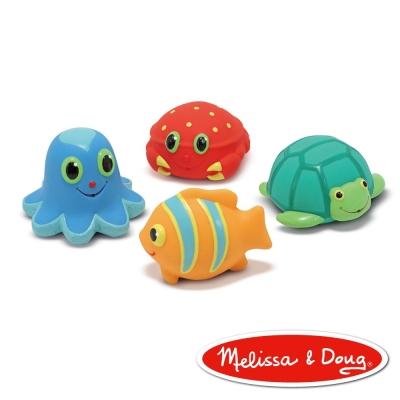 洗澡玩具-美國瑪莉莎 Melissa & Doug 海洋噴水生物,4 PCS