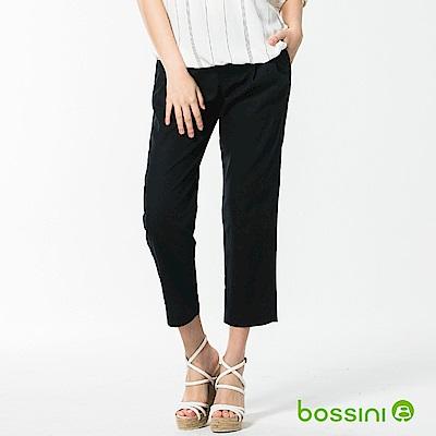 bossini女裝-休閒打摺棉麻長褲01海軍藍