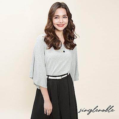 singlenoble 簡約赫本純色大襬荷葉袖上衣(2色)