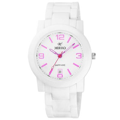 MIRRO 愛戀風潮陶瓷時尚腕錶-白x粉紅/40mm