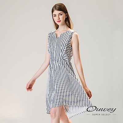 OUWEY歐薇 透膚造型拼接條紋背心洋裝(藍)