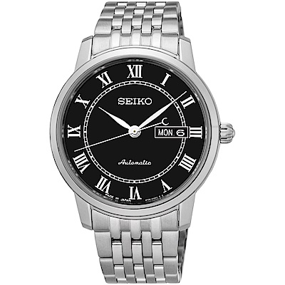 SEIKO精工 PRESAGE都會時尚藍寶石機械錶(SRP765J1)-黑色/39mm