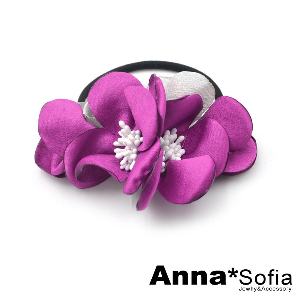 AnnaSofia 雙色漫朵瓣 純手工彈性髮束髮圈髮繩(桃灰系)
