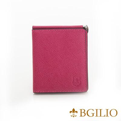 義大利BGilio-都會十字紋牛皮歐風輕薄短夾-桃紅色-2299.301-14