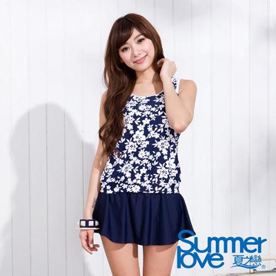 夏之戀SUMMERLOVE 深藍花紋長版三件式泳衣
