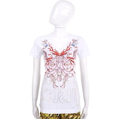 Just Cavalli 白色人魚珊瑚圖騰V領短袖T恤