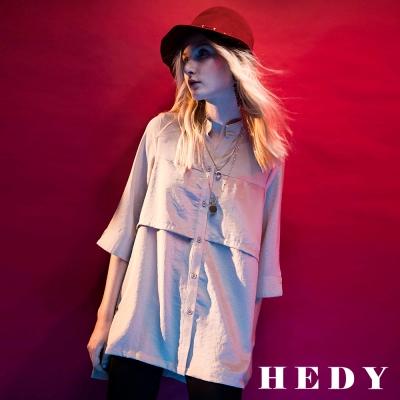 Hedy赫蒂 層次剪裁七分袖長版襯衫(共兩色)