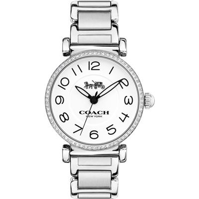 COACH Madison 時尚饗宴 數字晶鑽腕錶(14502854)-銀/32mm